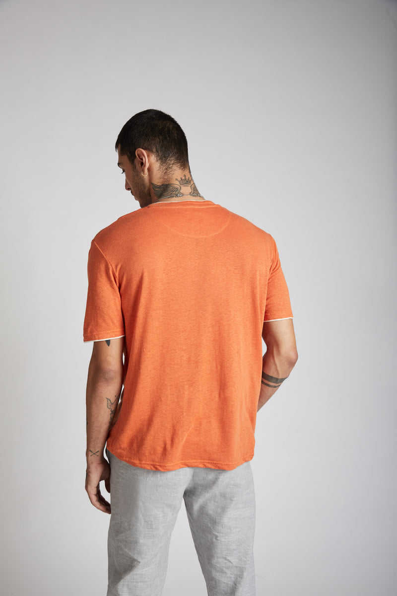 Peak Trimmed Pocket T-Shirt - Orange