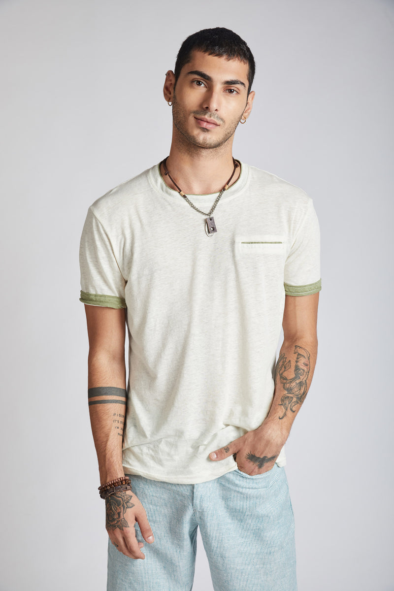 Peak Trimmed Pocket T-Shirt - White
