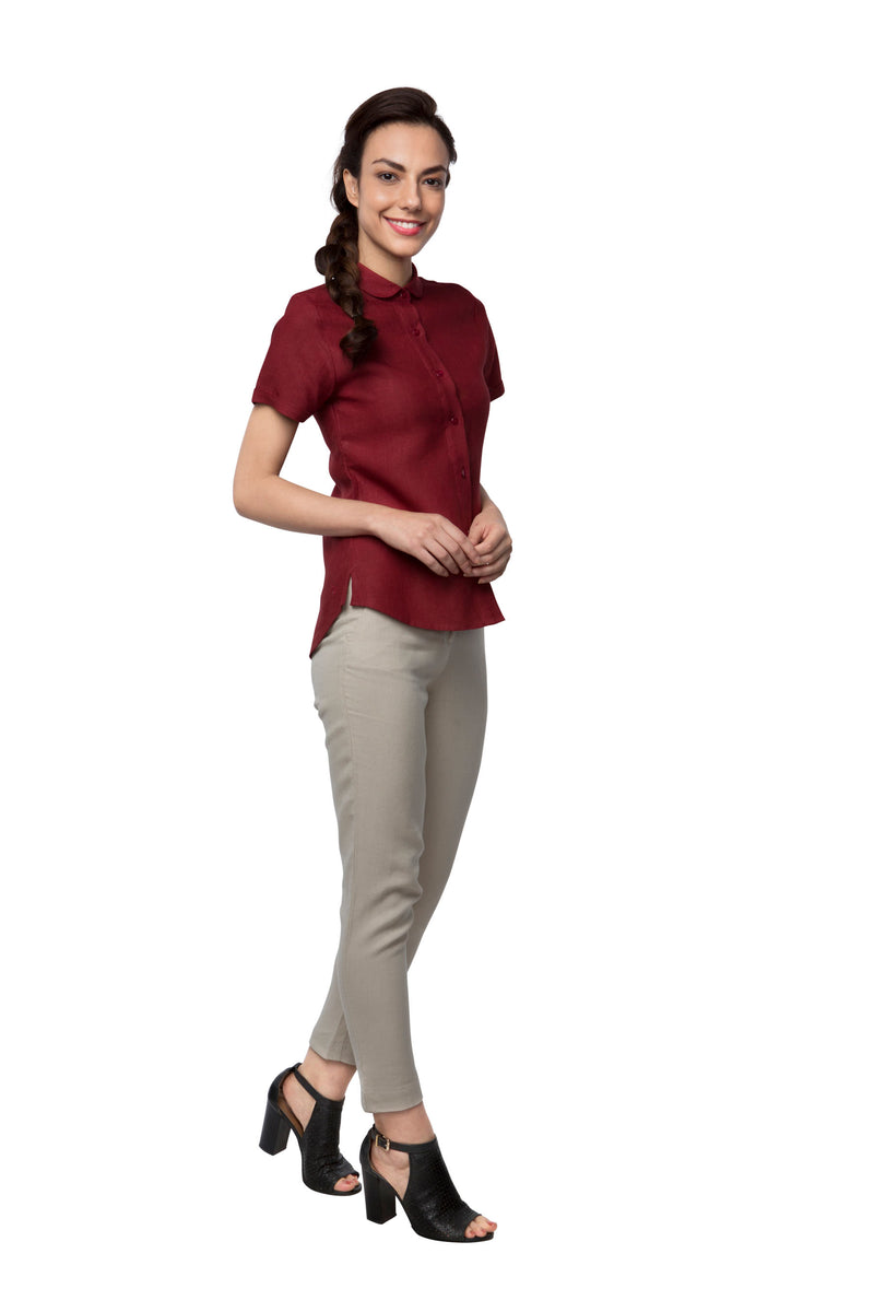 Pebble Half Sleeve Shirt - Maroon