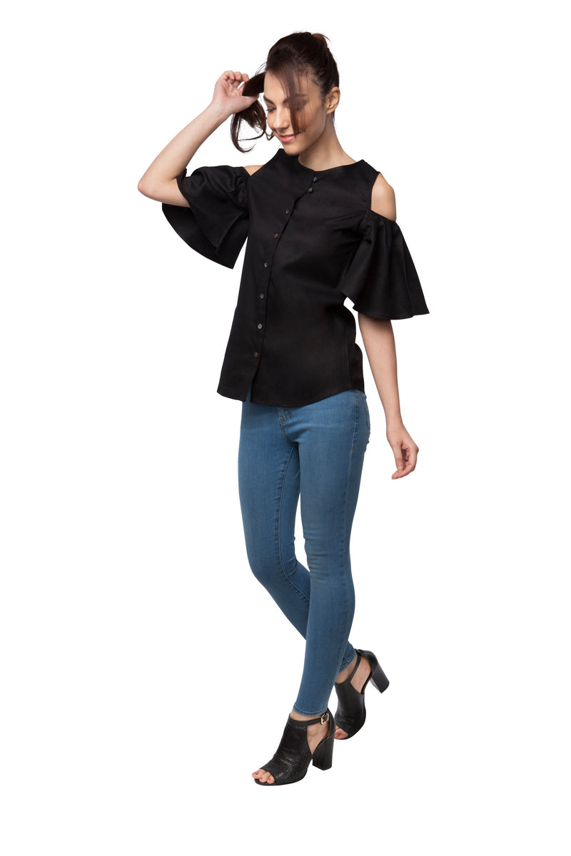 Pecan Sleeve Cut Out Top - Black