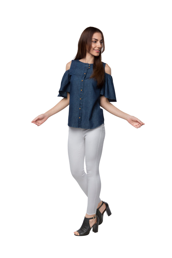 Pecan Sleeve Cut Out Top - Denim Blue