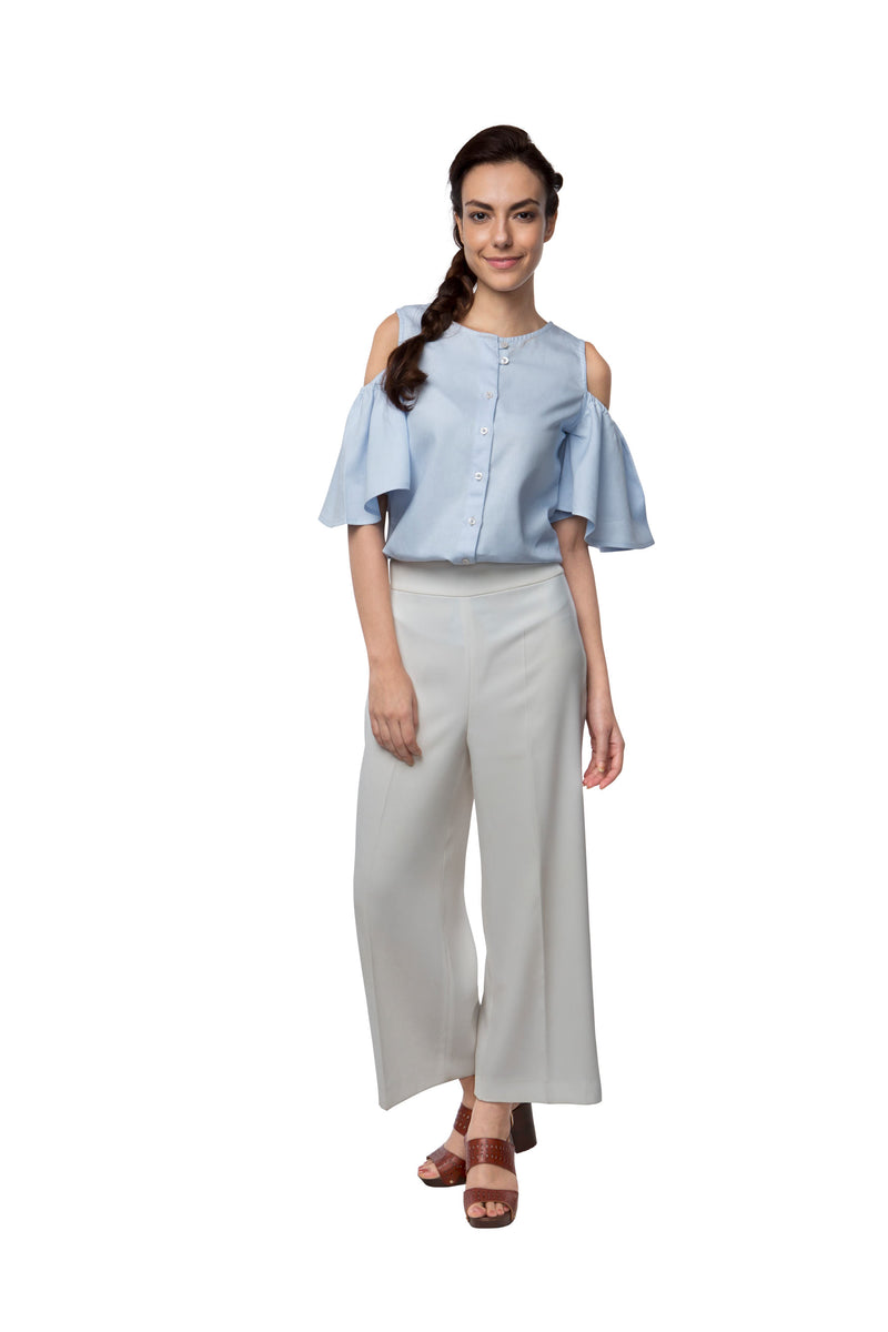 Pecan Sleeve Cut Out Top - Light Blue