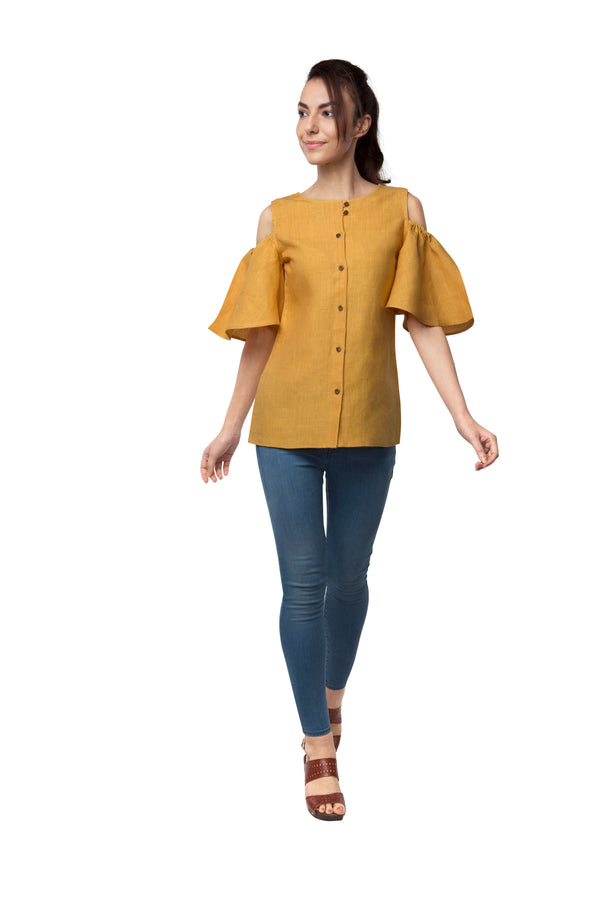 Pecan Sleeve Cut Out Top - Yellow