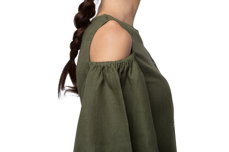 Pecan Sleeve Cut Out Top - Olive (Only XL Left)