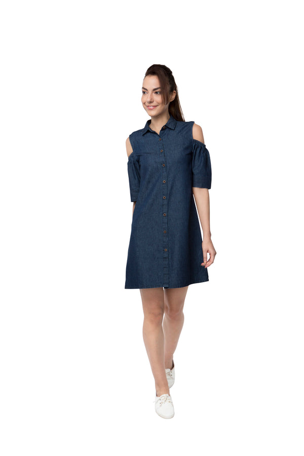 Pine Sleeve Cut Out Dress - Denim Blue