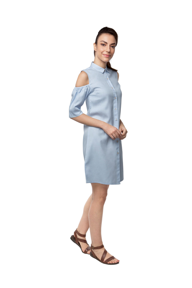 Pine Sleeve Cut Out Dress - Light Blue