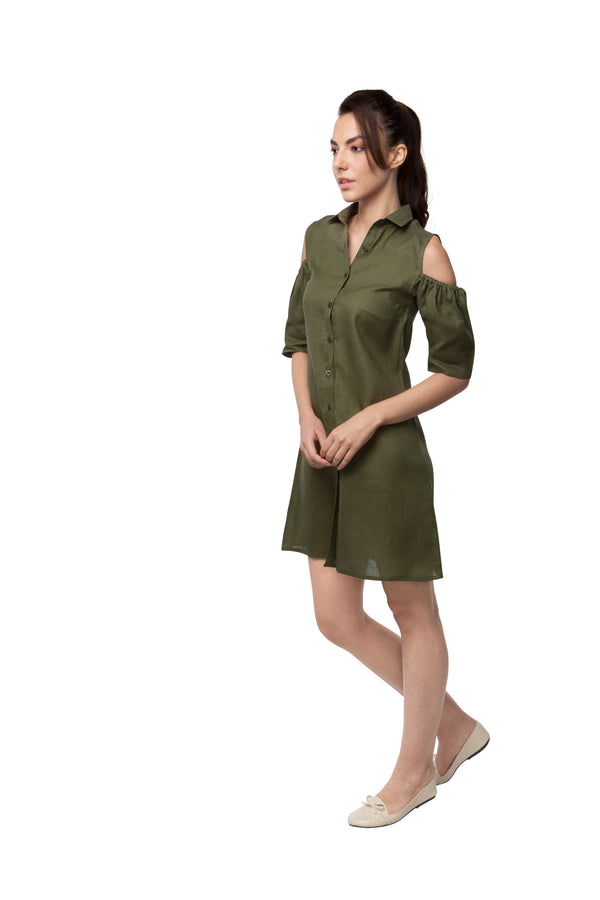 Pine Sleeve Cut Out Dress - Olive