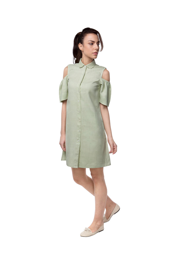 Pine Sleeve Cut Out Dress - Pista
