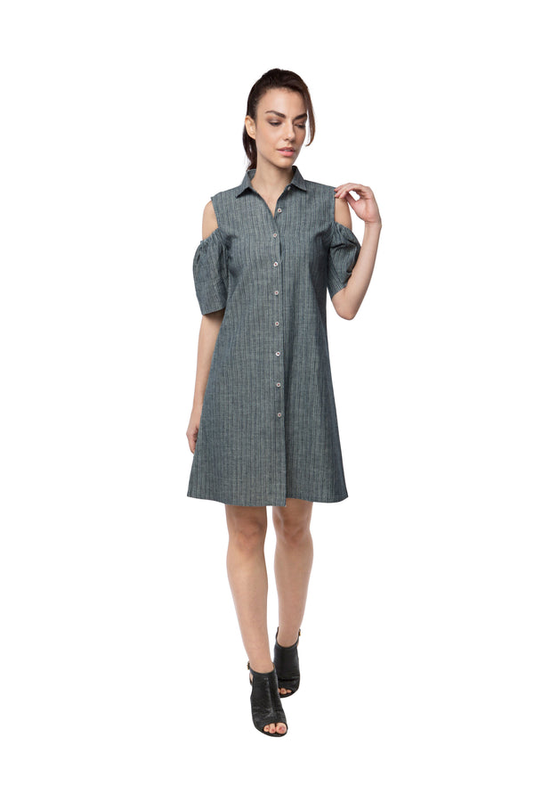Pine Sleeve Cut Out Dress - Grey Stripes (Only S Left)