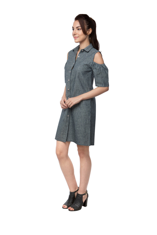 Pine Sleeve Cut Out Dress - Grey Stripes