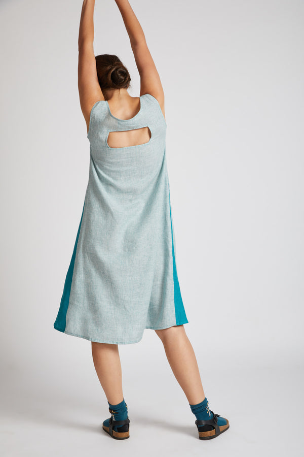 Pinwheel Sleeveless Dress - Teal Stripes