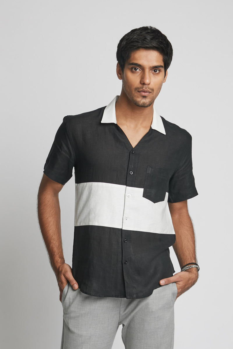 Radiate Colour Block Shirt  - Black