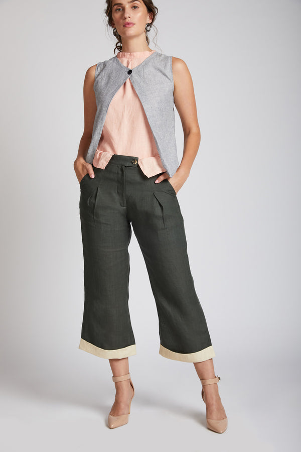 Rapture Calf Length Pants - Bottle Green