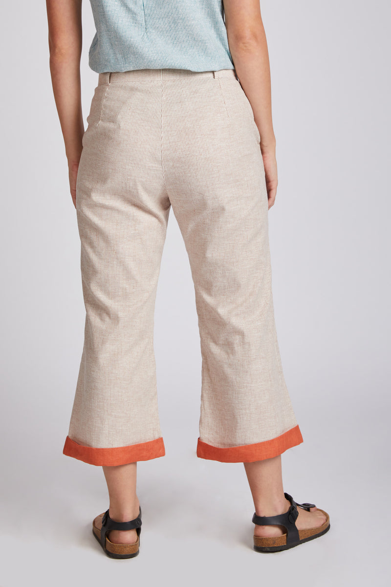 Rapture Calf Length Pants - Rust Stripes