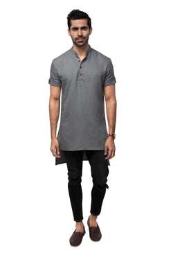 Raven High Low Kurta  - Grey