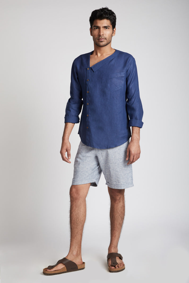 Ray Contrast Pocket Shorts - Blue Melange