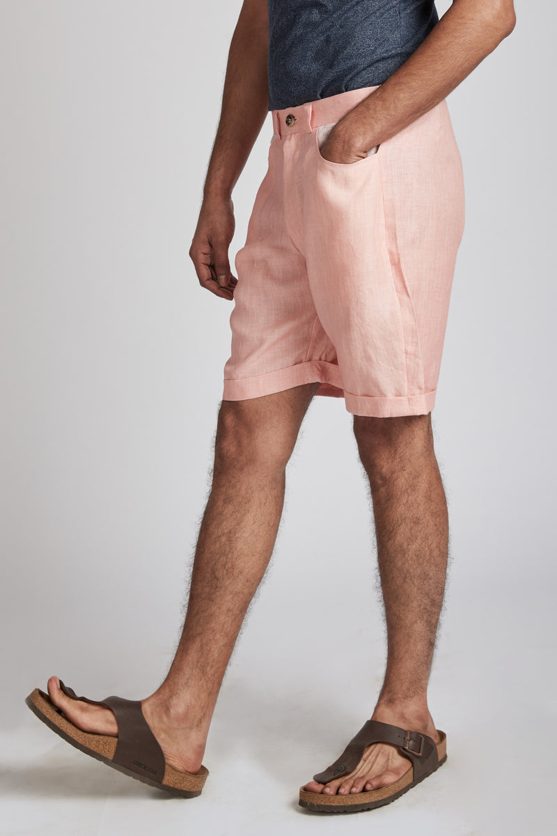 Ray Contrast Pocket Shorts - Peach