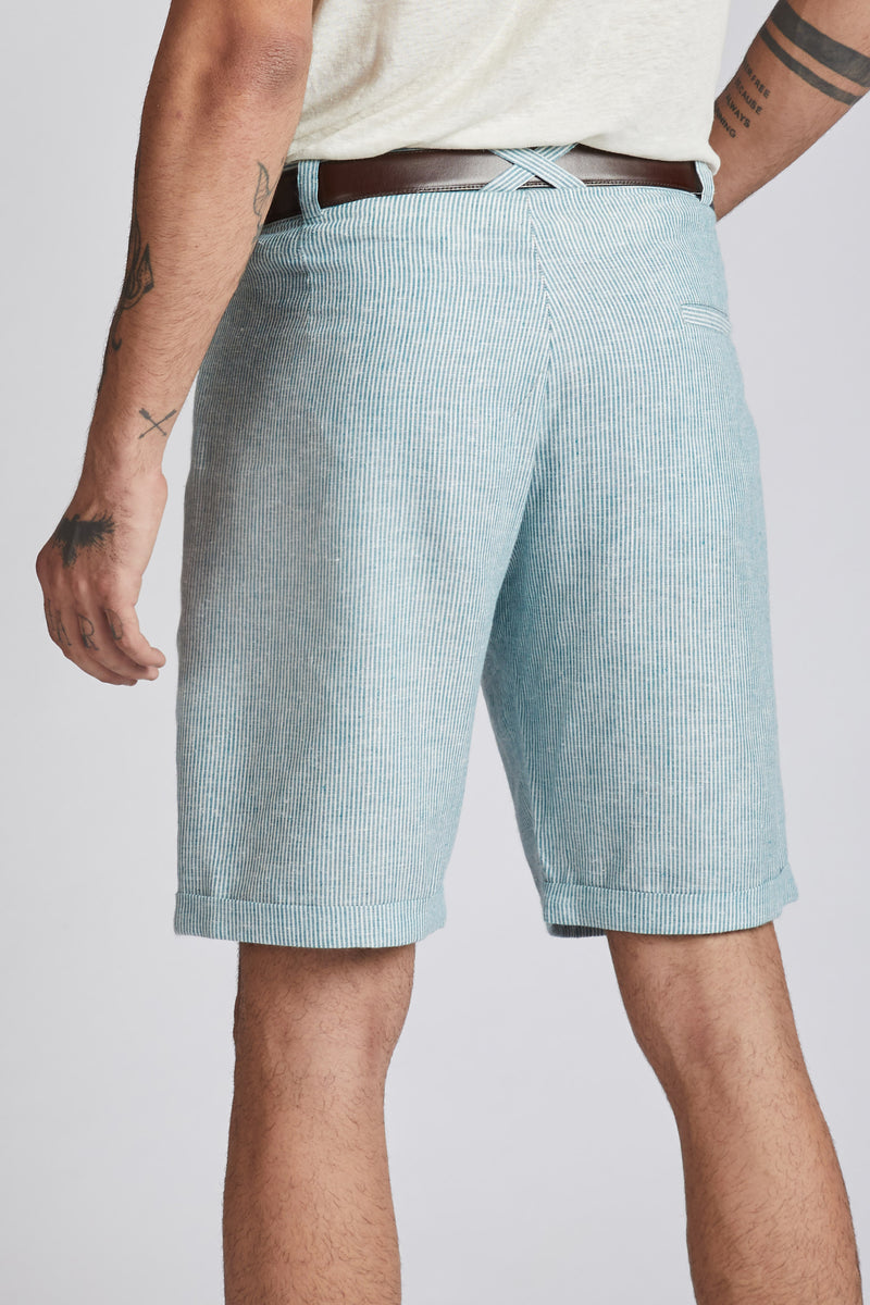 Ray Contrast Pocket Shorts - Teal Stripes