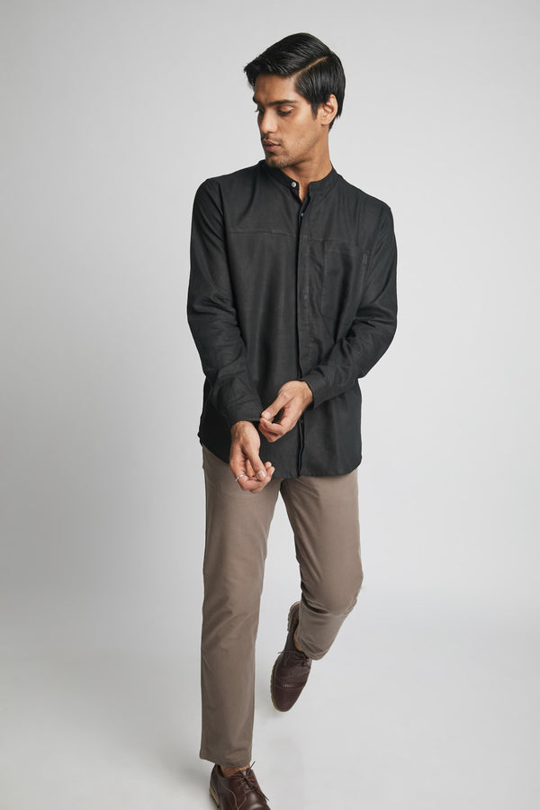 Reflect Round Collar Shirt  - Black