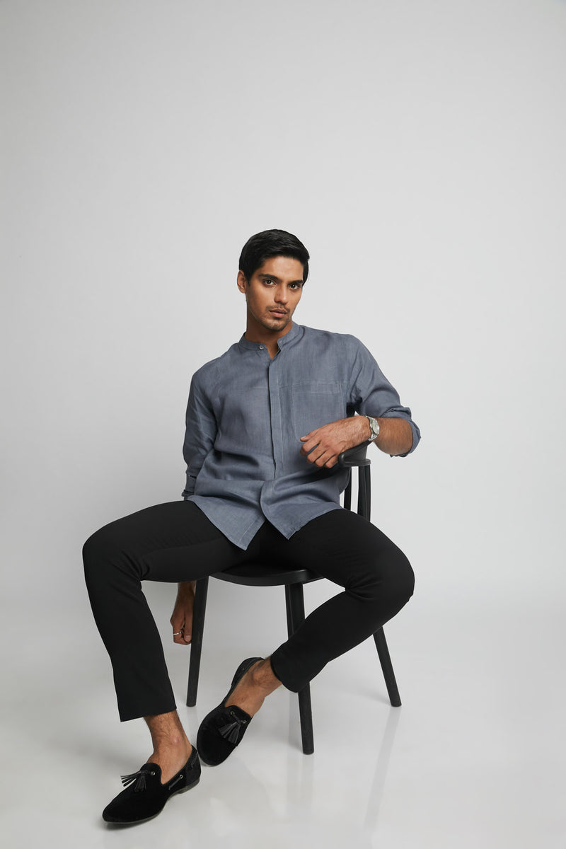 Reflect Round Collar Shirt  - Grey