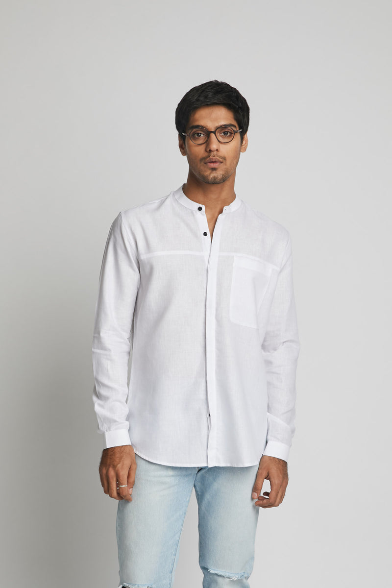 Reflect Round Collar Shirt  - White