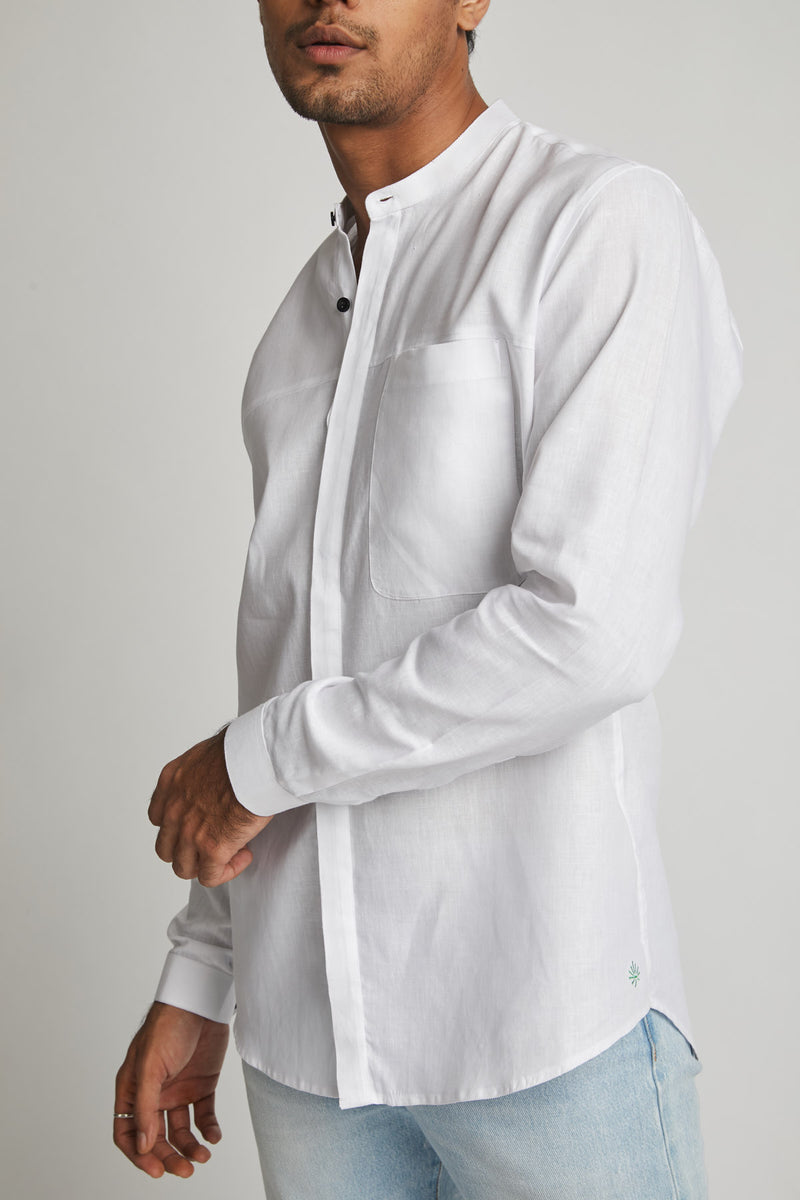 Round Collar Shirt - Reflect White