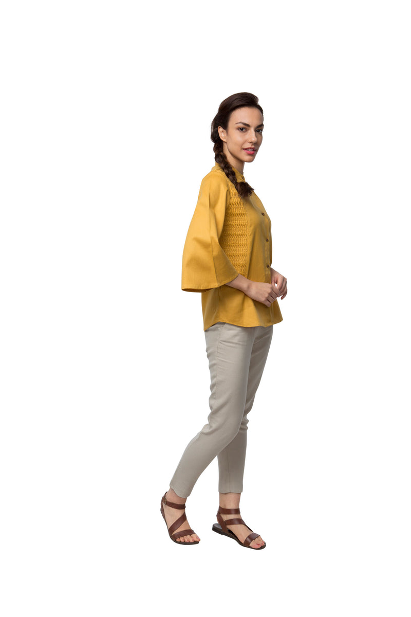 Ripple Flared Sleeve Top - Yellow