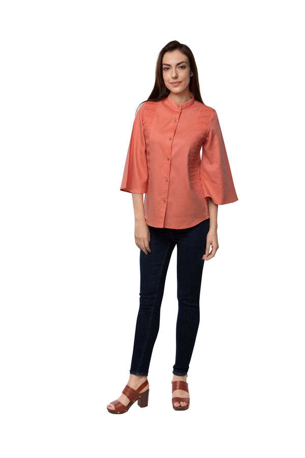 Ripple Flared Sleeve Top - Peach
