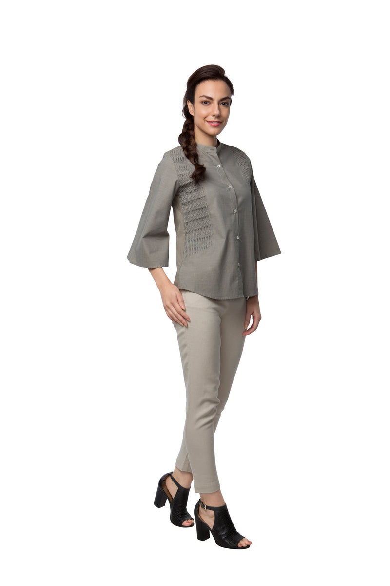 Ripple Flared Sleeve Top - Sage