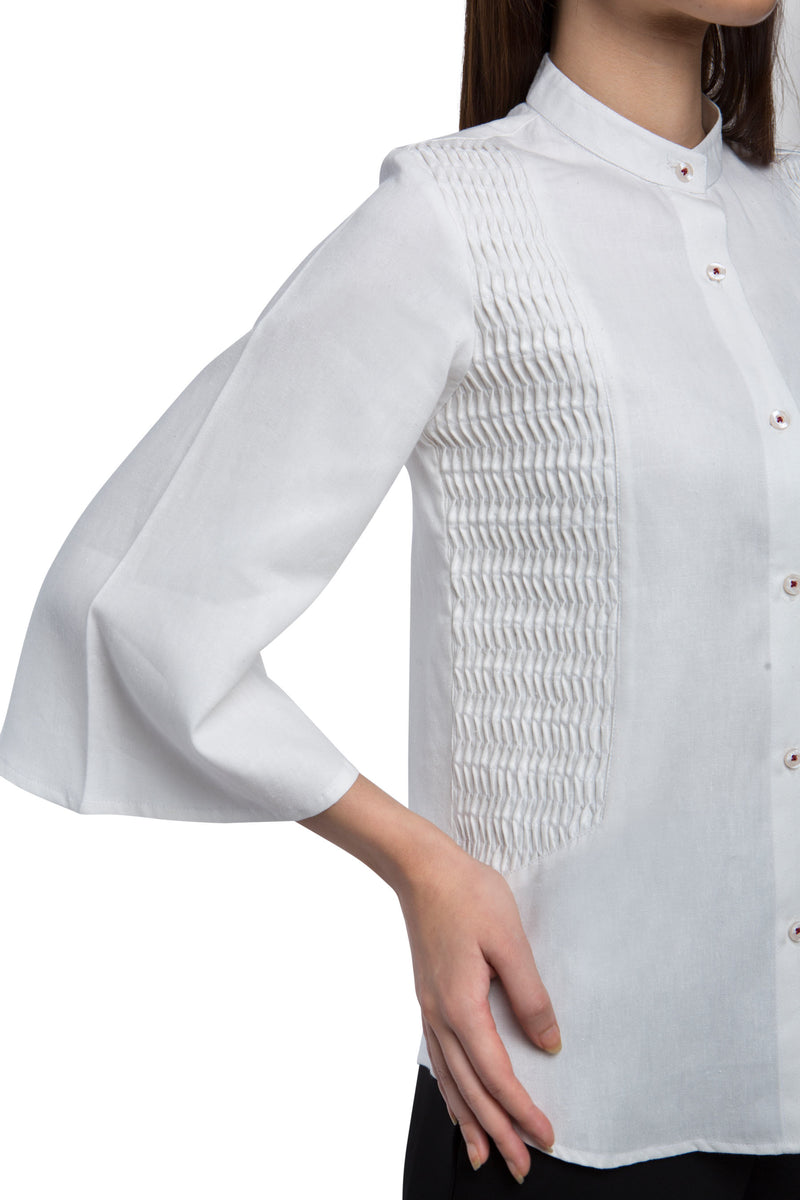 Ripple Flared Sleeve Top - White