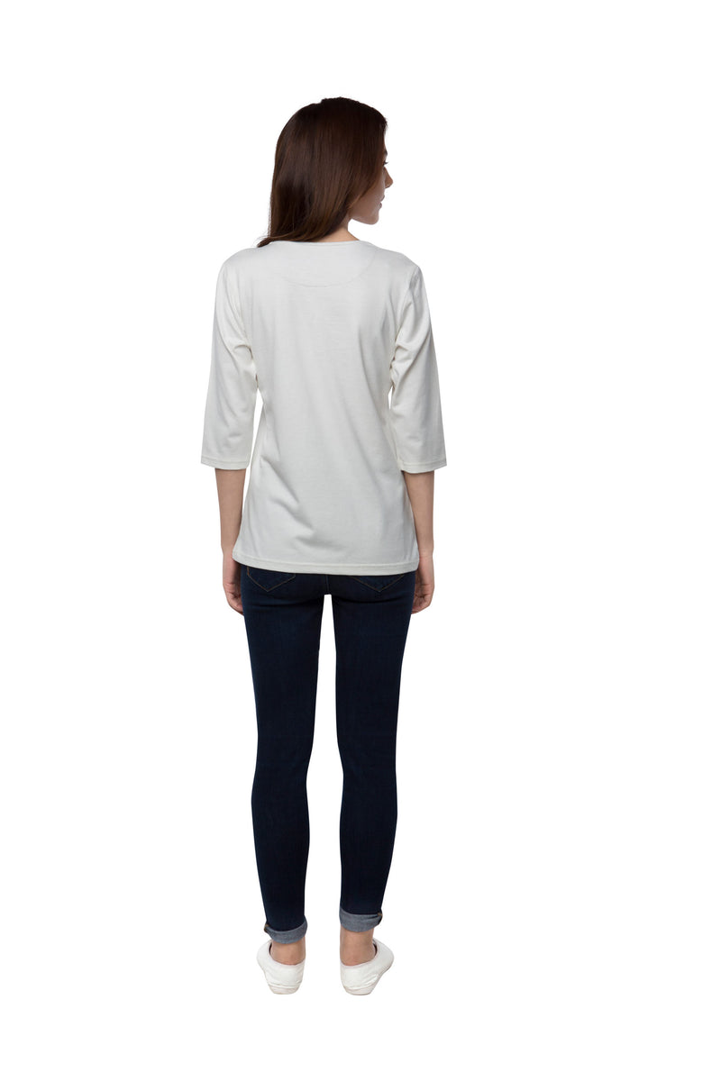 Riverbed Square - Neck T- Shirt  - White (Only M Left)