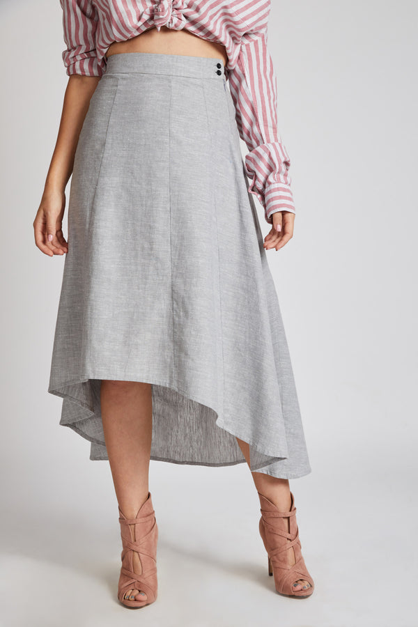 Sail High Low Skirt - Grey Melange
