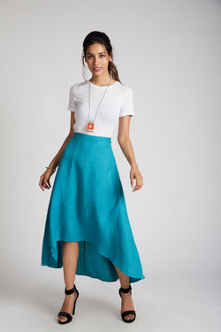 teal skirt - Sail High Low Skirt