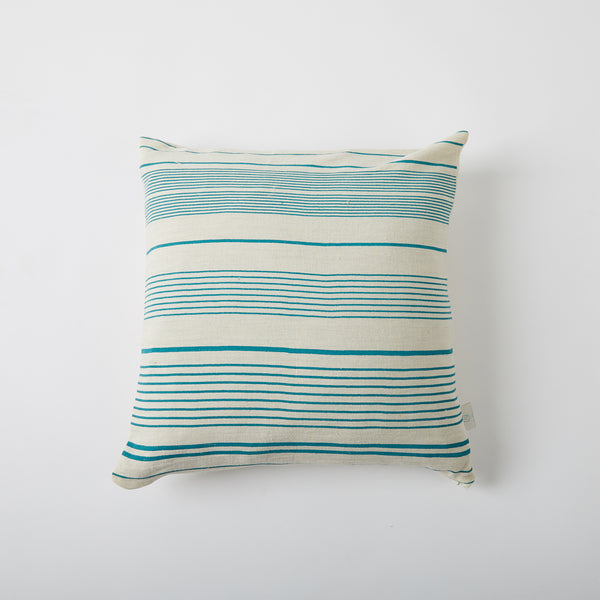 Screen Printed Teal Lined Cushion - Off White