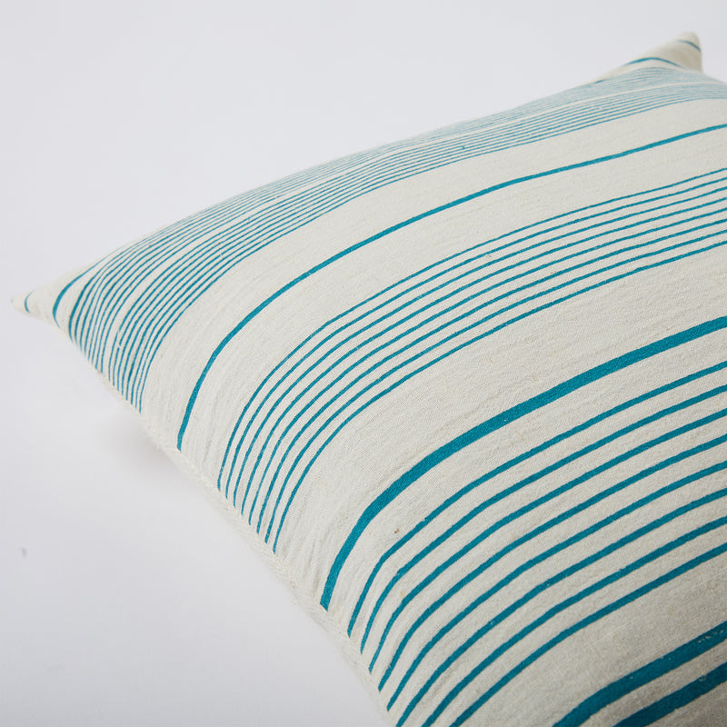 Screen Printed Teal Lined Cushion Cover - Off White