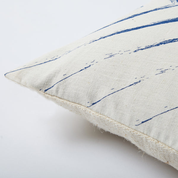 Screen Printed Navy Stroked Cushion - Off White