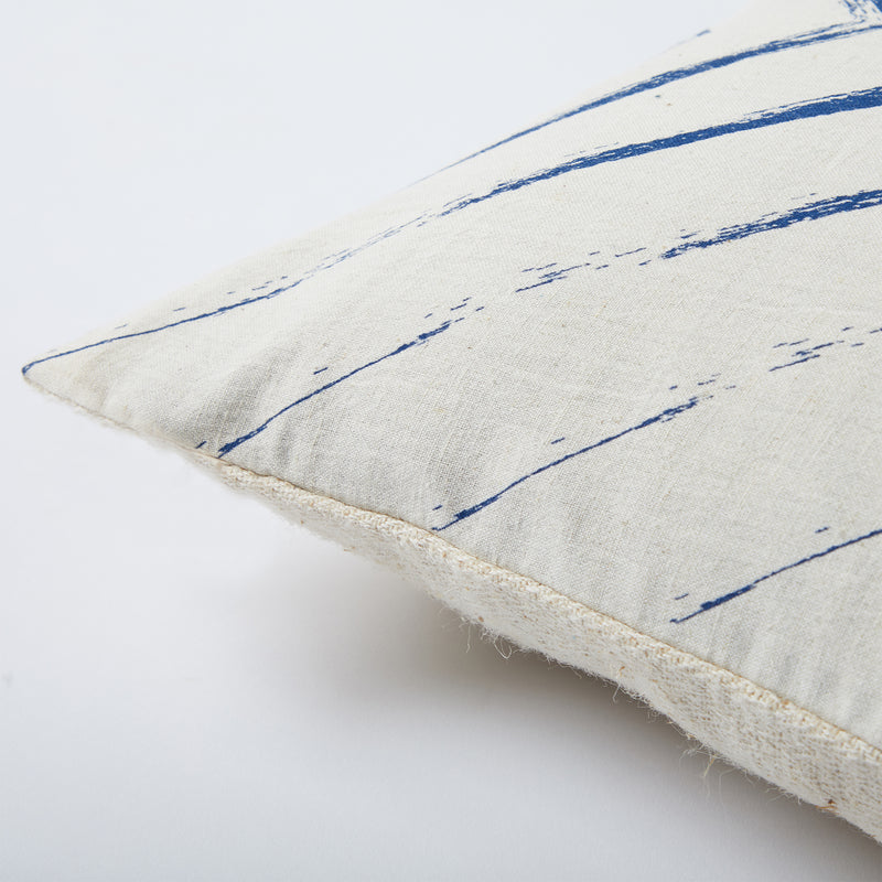 Screen Printed Navy Stroked Cushion Cover - Off White