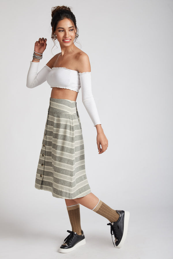 Skyward Skater Skirt - Horizontal Stripes
