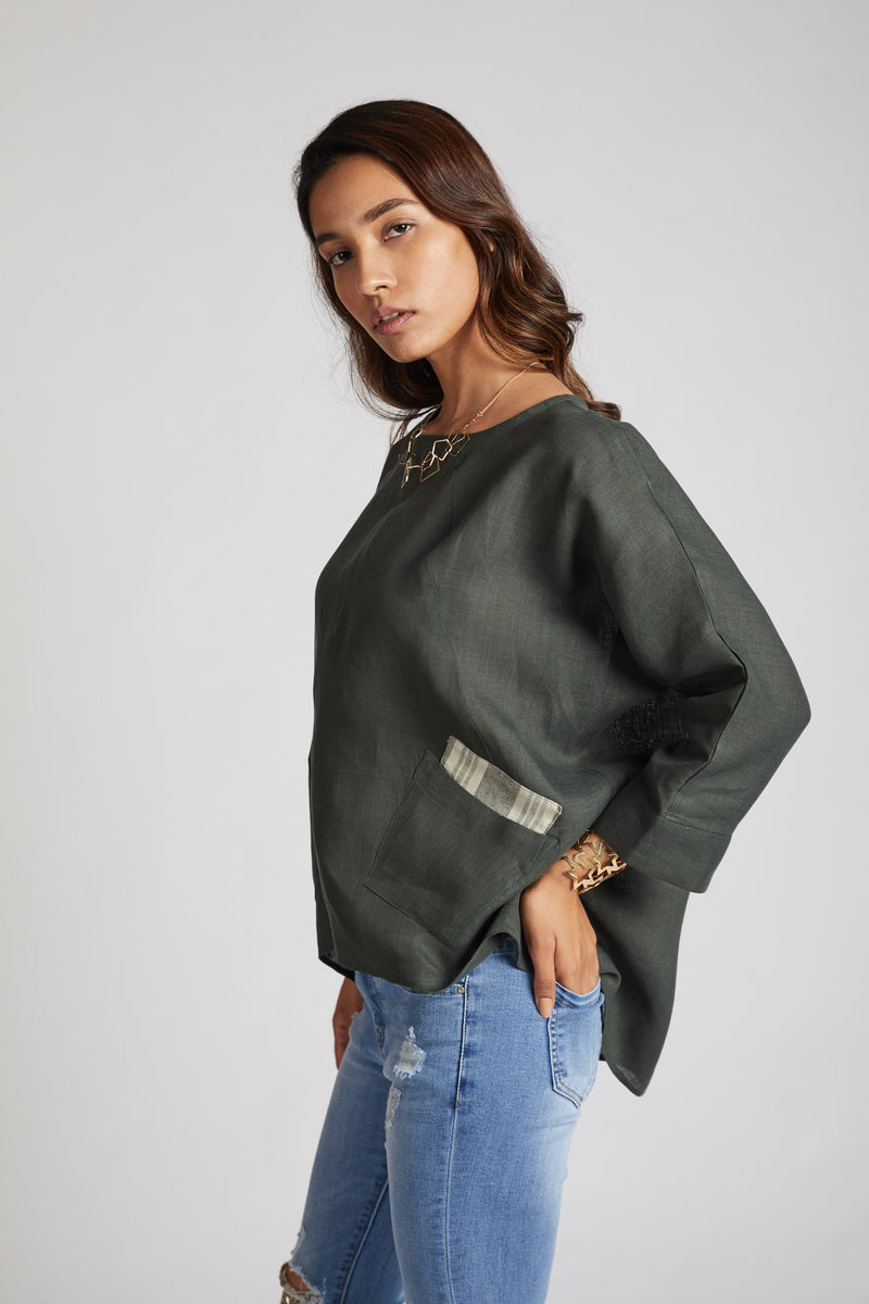 Soar Kimono Top - Bottle Green