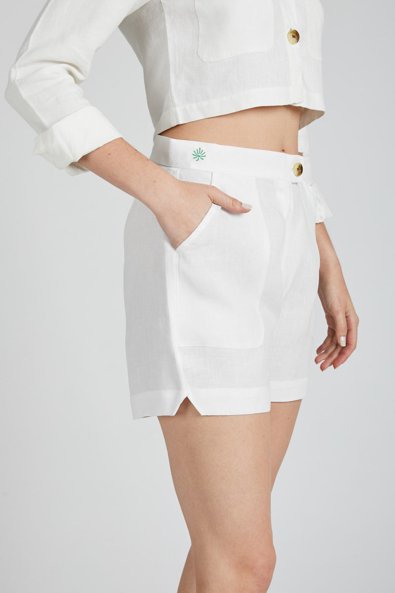 Spark Patch Pocket Shorts  - White