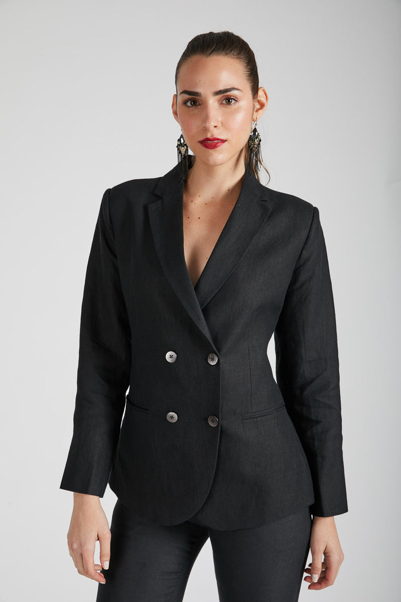 Stardust Double Breasted Jacket  - Black
