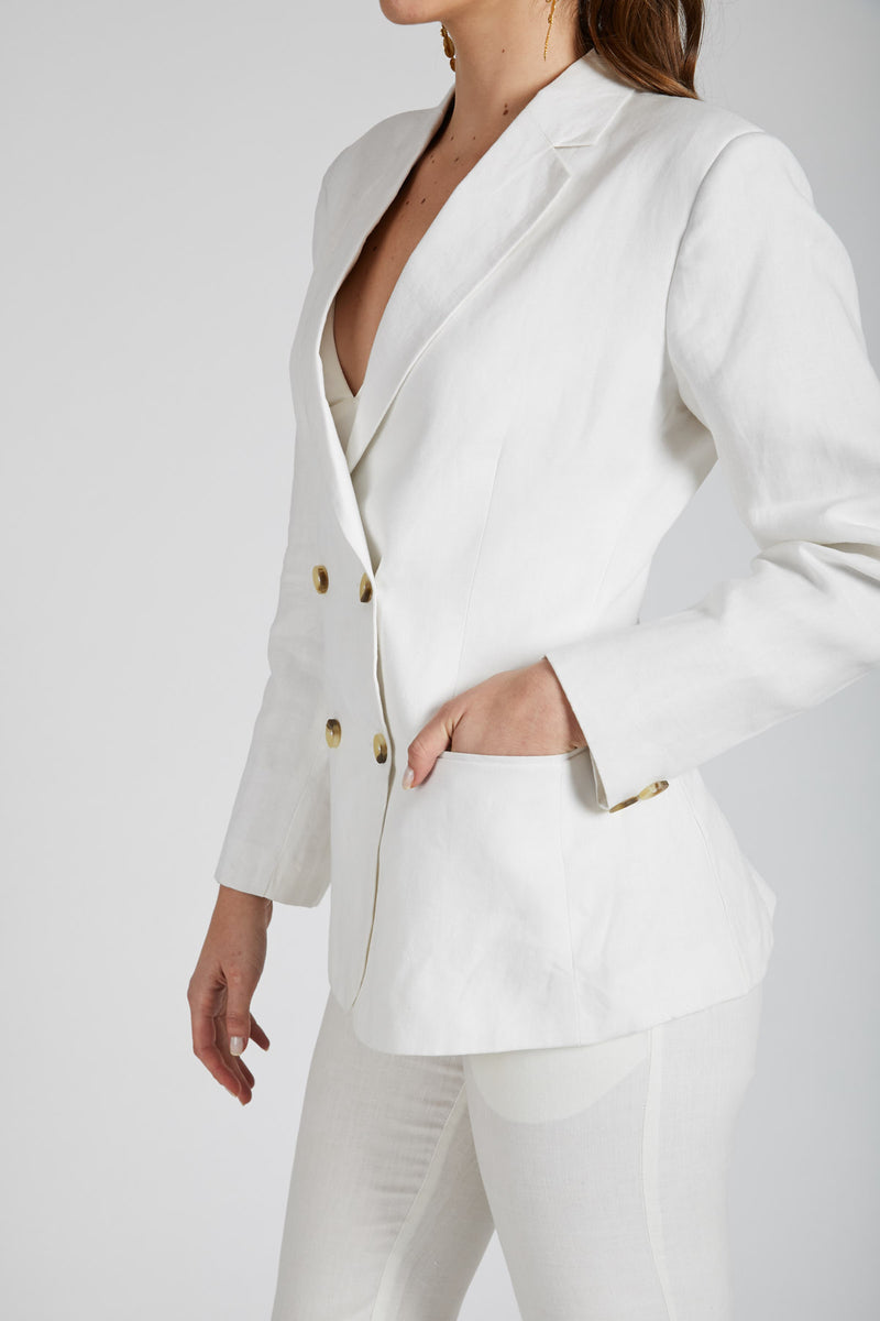 Stardust Double Breasted Jacket  - White