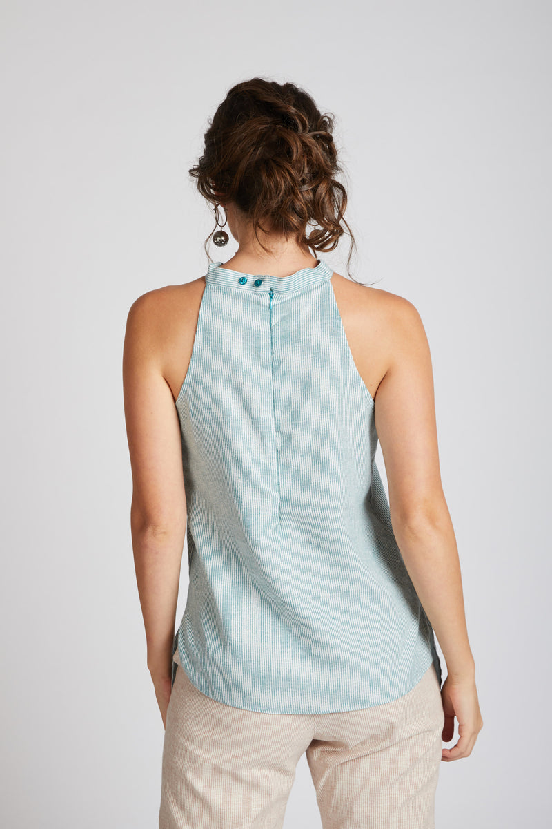 Tide Halter Top - Teal Stripes