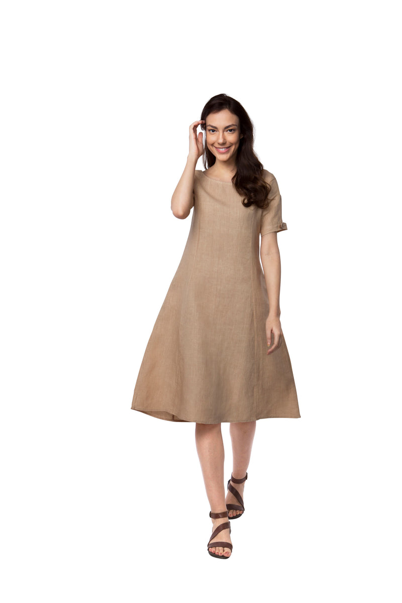 Twlight Calf Length Dress - Beige