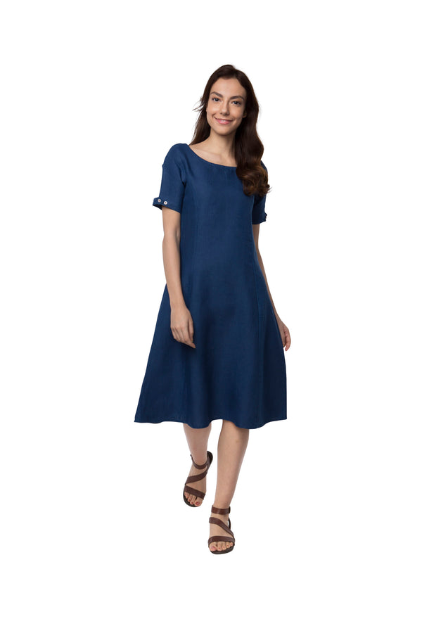 calf length dress - dark blue twilight dress