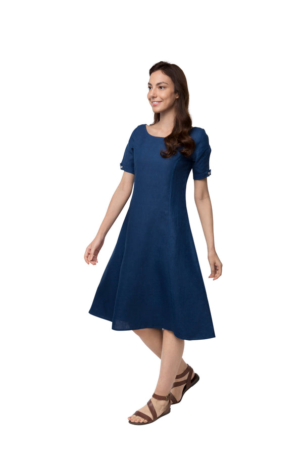 Twilight Calf Length Dress - Dark Blue