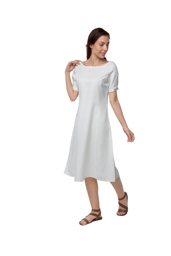 Twilight Calf Length Dress - White