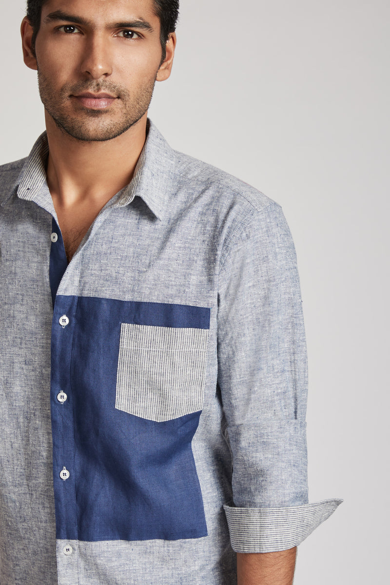 Vortex Color Block Shirt - Blue Melange