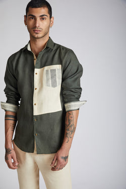 Vortex Color Block Shirt - Bottle Green
