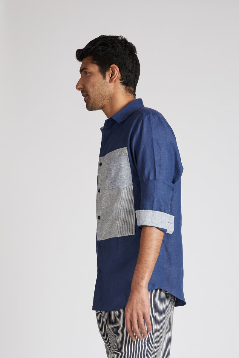 Vortex Color Block Shirt - Navy